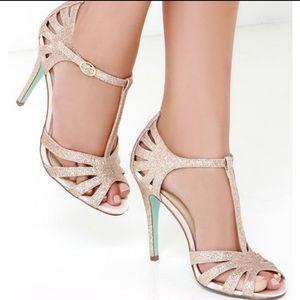 Betsey Johnson tee champagne glitter heels t-strap